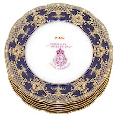 Vintage 1924 Royal Worcester 6pc Dinner Sized Plate Set, Cobalt Blue & Raised Gold Enamel Borders