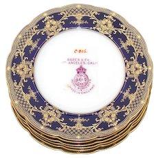Vintage 1924 Royal Worcester 6pc Dinner Sized Plate Set, Cobalt Blue & Raised Gold Enamel Borders