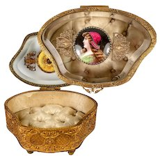 Antique French Jewelry Casket, Box, Glass Top, Kiln-fired Portrait of St. Helen, Divorce Saint