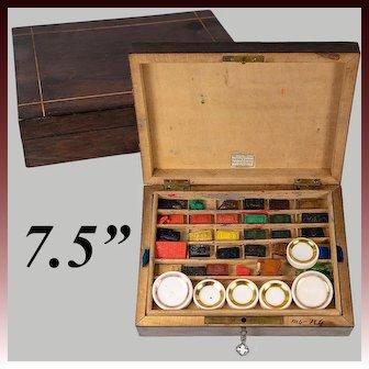 Antique French Artist's Watercolor Box, 6 Porcelain Pots, 26 Bricks, Most Unused