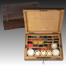 Antique French Artist's Watercolor Box, 6 Porcelain Pots, 28 Bricks, Most Unused
