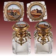 Pair (2) Antique French Souvenir Scent Perfume Bottles, Eglomise Views of 19th c. Paris