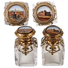Pair (2) Antique French Souvenir Scent Perfume Bottles, Eglomise Views of 19th c. Paris