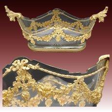 Superb Antique French Napoleon III Era Empire or Louis XVI Style Gilt Bronze & Baccarat Glass Jardiniere
