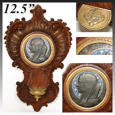 """Exquisite Antique French Carved Wood 12.5"""" Benitier or Holy Font, Rococo Style, Enamel Medallion"""