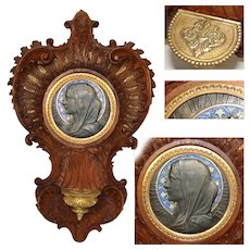 "Exquisite Antique French Carved Wood 12.5"" Benitier or Holy Font, Rococo Style, Enamel Medallion"