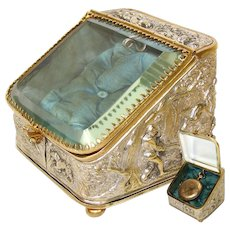Antique French Napoleon III Era Pocket Watch Display Casket, Box: Hunt Theme with Horses, Hounds & Fox