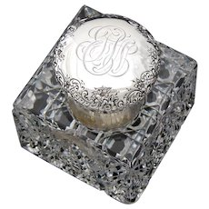 HUGE Antique American Brilliant Cut Crystal & Sterling Silver 'Paperweight' Style Inkwell