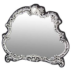 """Lovely Antique English Henry Mathews Sterling Silver 12 5/8"""" Vanity Boudoir Mirror, Thick Beveled"""