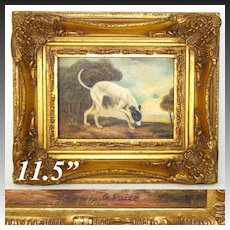 "Antique Animalier Style Miniature Painting, English Greyhound in 11.5"" Gilt Frame, G. Paice 1854-1925"