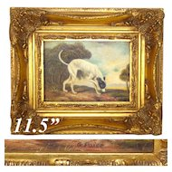 """Antique Animalier Style Miniature Painting, English Greyhound in 11.5"""" Gilt Frame, G. Paice 1854-1925"""