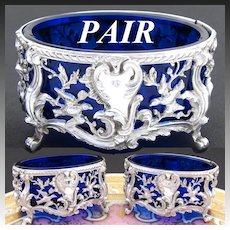 Gorgeous Antique French Sterling Silver 2pc Open Salt Pair, Figural Birds, Cobalt Glass Inserts