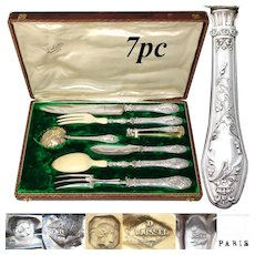 Antique French Sterling Silver 5pc Serving Implement Set: Meat & Salad Service, Cherub or Putti Figural Handles