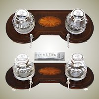 "Lovely Antique 9.75"" Double Inkwell, Sheraton Style Inlaid Inkstand, Sterling Silver & Cut Glass Inkwells"