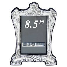 """Vintage American or English Sterling Silver 8.5"""" Picture Frame, Bows & Ribbons, Floral"""