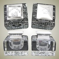 "HUGE Antique English Brilliant Cut Crystal & Sterling Silver Inkwell PAIR, ""Jure Non Dono"", Boar's Head"
