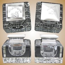 """HUGE Antique English Brilliant Cut Crystal & Sterling Silver Inkwell PAIR, """"Jure Non Dono"""", Boar's Head"""