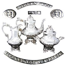 RARE Antique Tiffany & Co. Sterling Coin Silver 3pc Tea Set, Figural Mascaron, Eagle