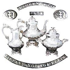 RARE Antique Tiffany & Co. Sterling Coin Silver 3pc Tea Set, Figural Mascaron, Eagle