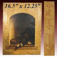 "Antique Belgian Oil Painting on Canvas, Dog in Kennel ""Apres Wiertz"", Antoine Joseph Wiertz (1806-1865)"