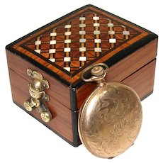 Antique French Napoleon III Pocket Watch Display Casket, a Lovely Kingwood & Pearl Marquetry Box