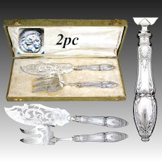 Ornate Antique French Sterling Silver 2pc 'Service a Poisson' or Fish Serving Implement Pair