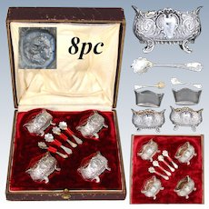 Elegant Antique French Sterling Silver 4pc Open Salt Set, Ornate Rococo Style, Glass Inserts, Fitted Box