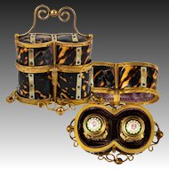 Antique French Scent Caddy, 2 Kiln-fired Enamel Top Perfume Flasks, Faux Tortoise Shell Box