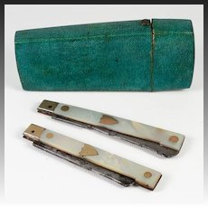 Rare Antique 1700s French Shagreen Etui, Case: TWO Mother of Pearl & 14-15K Gold Handled Knives