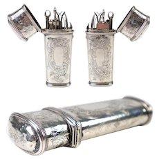 Superb Antique Late 1700s French Sterling Silver Vest Necessaire, Scissors, etc., etc., Etui