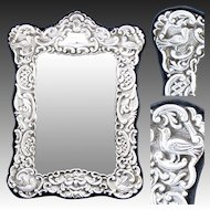 "Lovely Vintage Italian Sterling Silver 8"" Picture Frame, Ornate Bas Relief, Figural Birds"