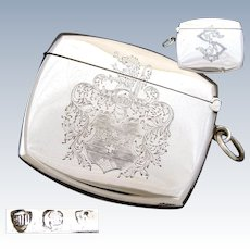 Antique Continental .800 Silver Match Vesta, Case or Etui, Striker, Knight Engraved, Monogram: S P
