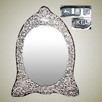 "Large Vintage English Hallmarked Sterling Silver 12.5"" Vanity, Boudoir Mirror, Ornate Bas Relief, Beveled Mirror"