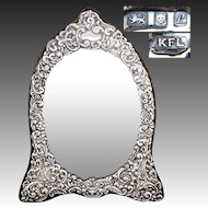 "Large Vintage English Hallmarked Sterling Silver 12.5"" Vanity, Boudoir Mirror, Ornate Bas Relief, Beveled Mirror"