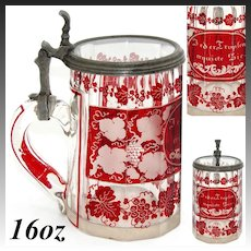 """Antique Bohemian Glass Beer Stein, Ruby to Clear, Ornate Grapes & Foliage Engravings, """"Feder Tropfen Erquicke Sie"""""""