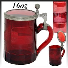 Rare Antique Bohemian Ruby Glass 16oz Beer Stein, 3 Architectural Spa Engravings