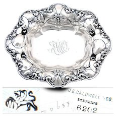 """Antique Whiting Gorham Sterling Silver7"""" Bowl, Beautiful Floral Bas Relief, J.E. Caldwell, Philadelphia"""