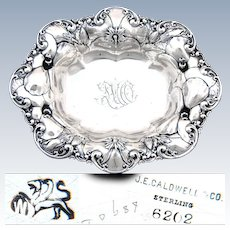 "Antique Whiting Gorham Sterling Silver7"" Bowl, Beautiful Floral Bas Relief, J.E. Caldwell, Philadelphia"