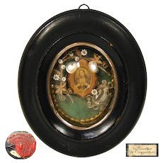 Fine Antique French Reliquary, Original Wax Seals, Beadwork, Paperolle: Margaret Mary Alacoque