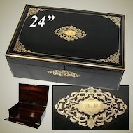 """HUGE Antique French 24"""" Cashmere Chest, Boulle Marquetry - Napoleon III"""