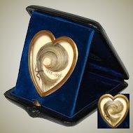 Antique French Napoleon III Era Hair Art Memento, Unique Heart Shape in Leather Travel Case