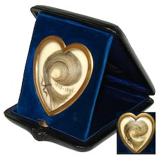 Antique French Napoleon III Era Hair Art Memento, Unique Heart Shape in Leather Travel Case