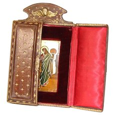 Gorgeous Antique French Gilt Embossed Leather Locket or Cabinet Style Frame, Enamel Plaque Inside