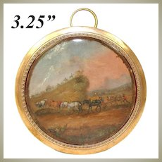 Antique French c.1830-50 Hand Painted Miniature, Horses, Cart & Soldiers, Bronze Frame