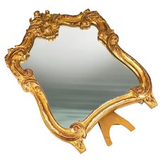 "Superb Antique French Hand Carved Wood, Gilded Frame Vanity Mirror Stand, 10.5"" Tall"