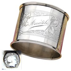 "Antique French .800 Silver Napkin Ring, Guilloche Style Decoration, ""Anatole"" Inscription"
