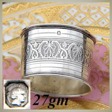 """Antique French Sterling Silver 2"""" Napkin Ring, Guilloche Frieze Style Decoration"""