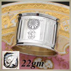 """Antique French Sterling Silver Napkin Ring, Seashell Accents, """"GG"""" Monogram"""