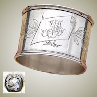 """Antique French .800 (nearly sterling) Silver Napkin Ring, Floral & Foliate, """"MT"""" Monogram"""