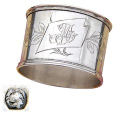 "Antique French .800 (nearly sterling) Silver Napkin Ring, Floral & Foliate, ""MT"" Monogram"